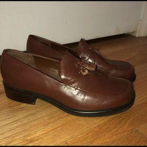 Franco Sarto 8M Brown Heeled Loafers